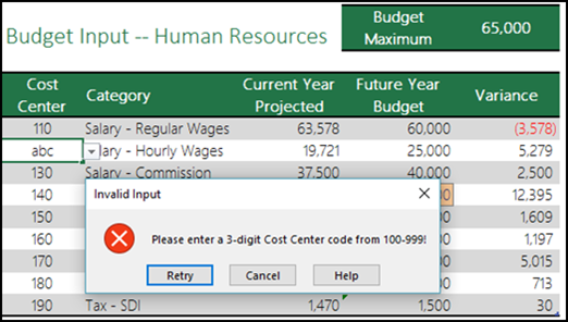 More On Data Validation Excel. Exle Of An Invalid Input Message. Worksheet. Excel Worksheet Limit 2013 At Mspartners.co