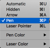 Choose a pen pointer from the pop-up menu.