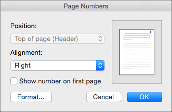In Page Numbers, set the position and alignment of page numbers.