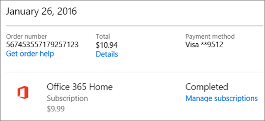 An example of the Order history page, showing the order details for an Office 3635 Home subscription.