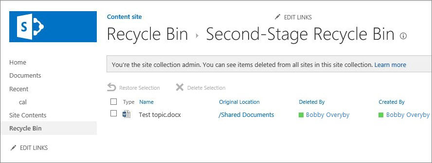 Second-Stage Recycle Bin.