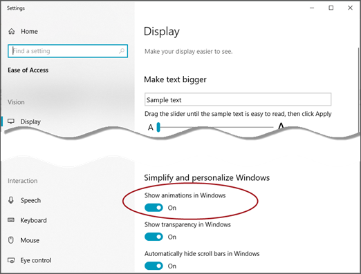 The Ease of Access Display menu with the Show animations in Windows option highlighted.