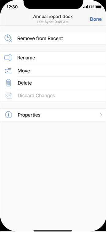 File settings with the ability to move the selected cloud file to a different folder