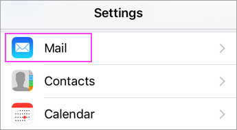 Settings > Mail