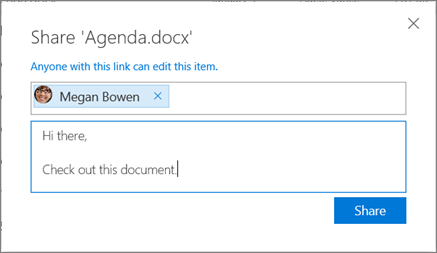 Screenshot of the Share dialog box when sharing a file in OneDrive for Business