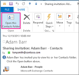 Received share contacts invitation outside your organization