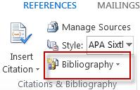 Create a bibliography in Word 2013.