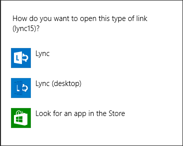 Screen shot of Lync notification for choosing a program
