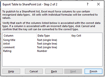 Export to SharePoint dialog second page.