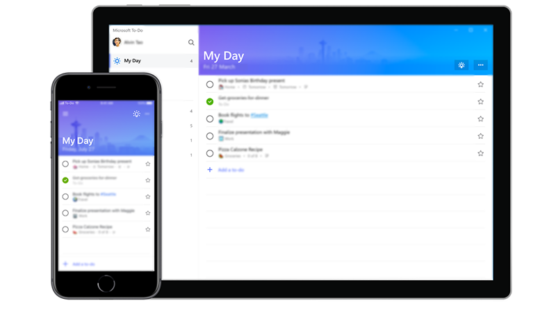 A phone and a table showing Microsoft To-Do's My Day screen