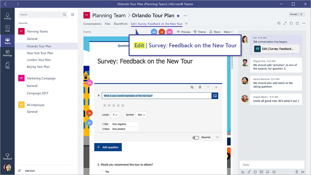 "Forms tab in Microsoft Teams that shows a form in ""Edit"" mode"