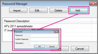 Manually adding a password