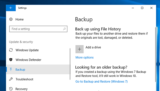 Backup And Restore In Windows 10