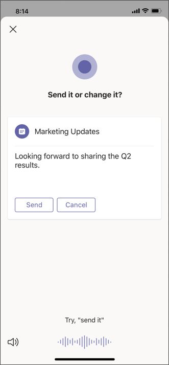 Cortana mobile send message screen