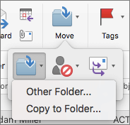 Move or copy messages between folders