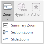 Shows different types of Zooms that can be selected when you go to Insert > Zoom: Summary Zoom, Slide Zoom, and Section Zoom.
