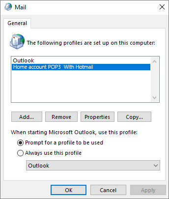 Account profile dialog