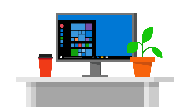 Illustration of a computer on a desk with a coffee and plant
