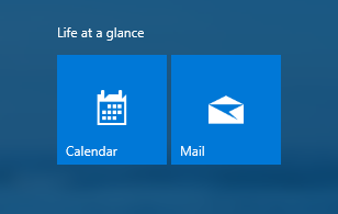 Calendar and Mail app on Start