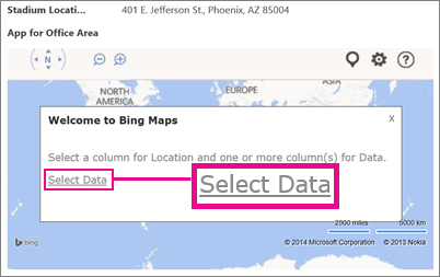 Selecting Data for a Bing Maps App for Office in an Access app