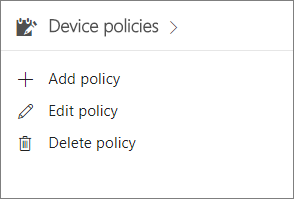 Device policies card in the admin center.