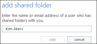 Outlook Web App Add shared folder dialog box