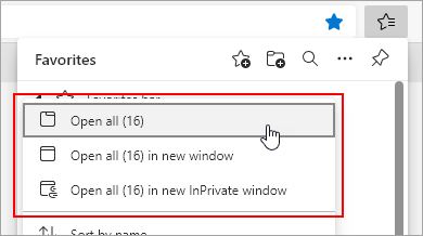 Options to open all favorites