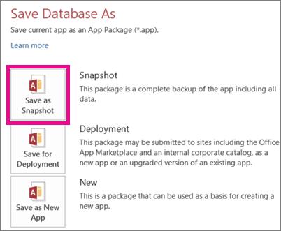 Create an Access app package - Access