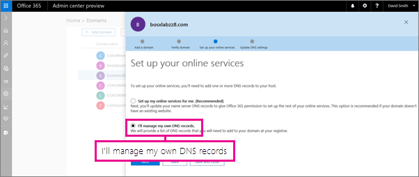 Choose to manage your own DNS records