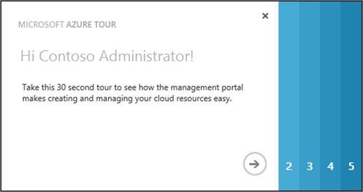 Shows the welcome page for the Azure tour, which takes 30 seconds to show you how to use the management portal to create and manage cloud resources.