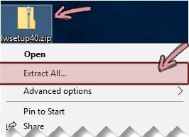 Right-click the compressed zip file to extract a file from it.