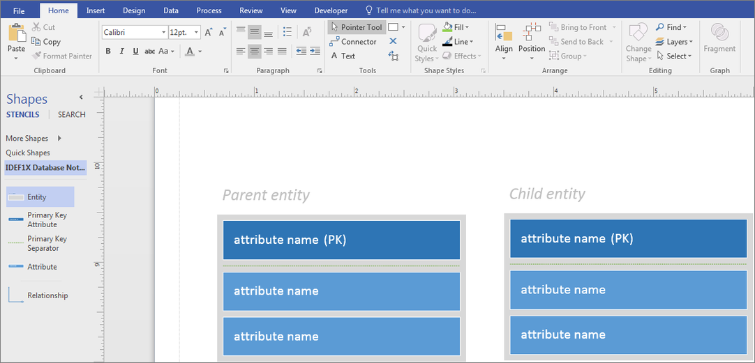 Define Categories In A Database Model Diagram Visio