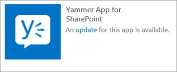 Yammer app for SharePoint update