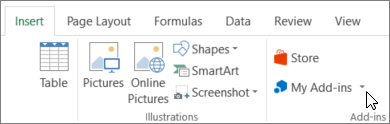 Screenshot of a section of the Insert tab on the Excel ribbon with a cursor pointing to My Add-ins. Select My Add-ins to access add-ins for Excel.