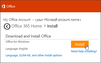 Selecting Install on www.office.com/setup or www.office.com/myaccount after signing in