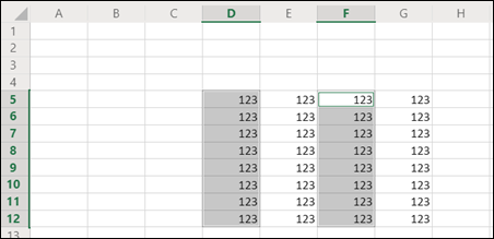 Discontinuous ranges selected in Excel for the web