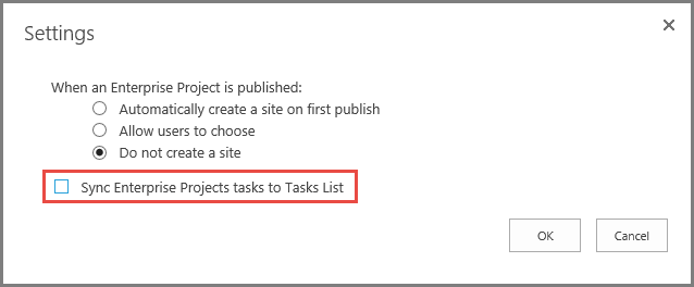 Screenshot of task sync settings dialog box.