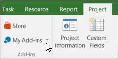 Screenshot of a section of the Project tab on the ribbon with a cursor pointing to the My Add-ins drop-down. Select My Add-ins to select a recently used add-in, manage all your add-ins, or go to the Office Store for new add-ins.