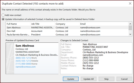 Choose what you want to do with duplicate contacts.