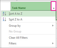 Image of Task Name menu with Sort A to Z selected