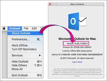 Select Outlook About Outlook to find your version