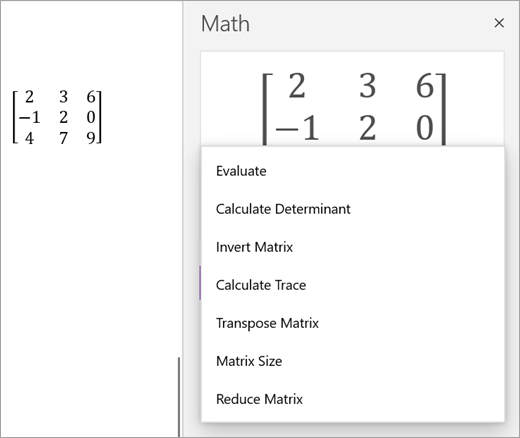 Solution options for Matrices