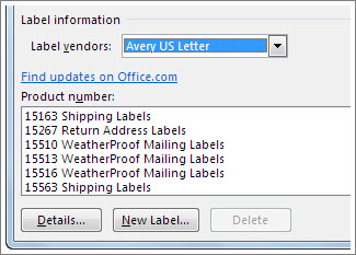 Label vendor and product number options
