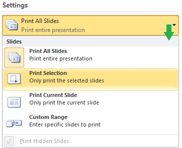 Options for choosing which slides to print