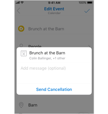 Cancellation screen with place to add a message