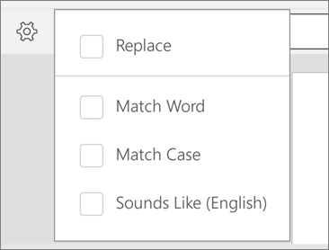 Shows the Replace, Match Word, Match Case, and Sounds Like options for Find in Word for Android.