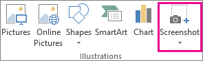Screenshot button in the Illustrations group