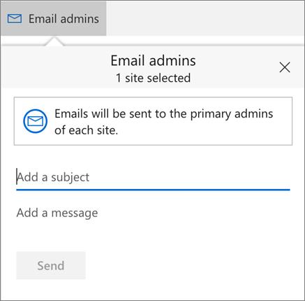 Email admins dialog box