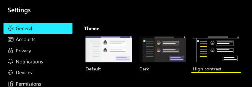 The High contrast option selected in Microsoft Teams settings in macOS.