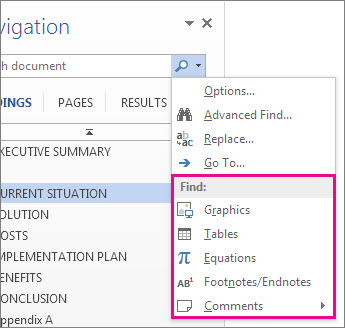 Search elements from the Navigation pane